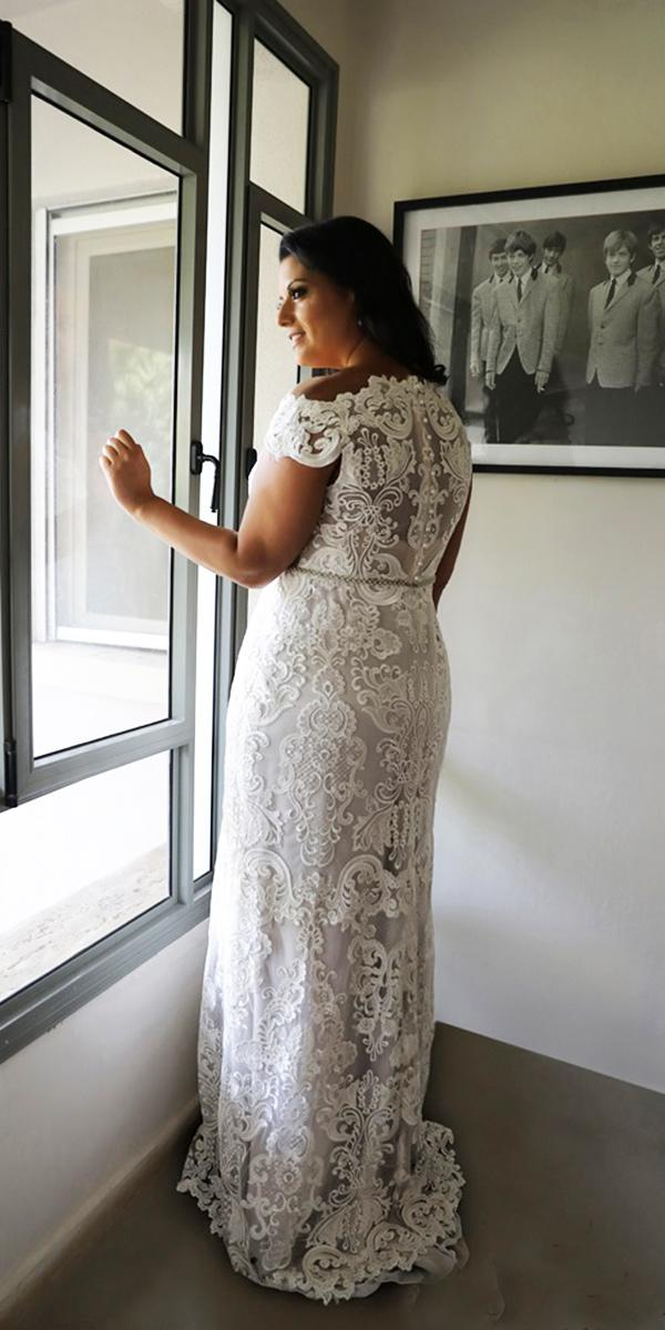 plus size wedding dresses vintage sheath with cap sleeves full lace studio levana