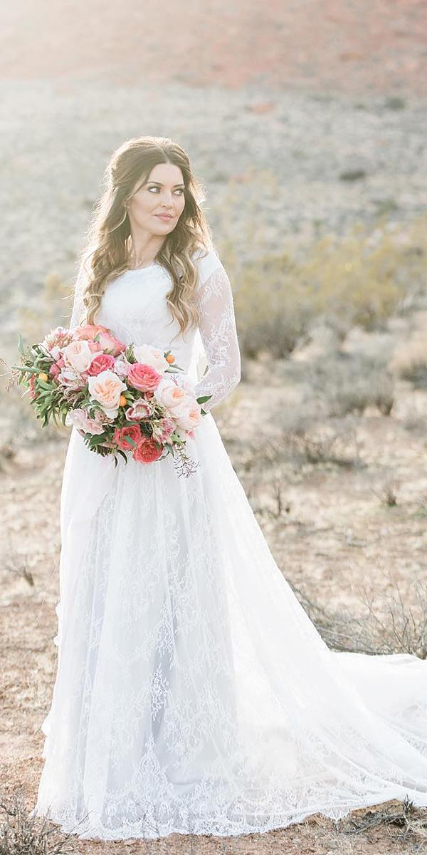 a line wedding dresses with long sleeves full lace train elizabeth cooper