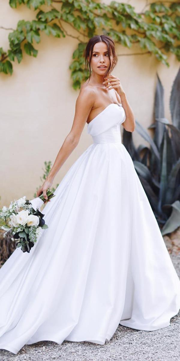 simple a line sweetheart white elegant wedding gowns lovella bridal