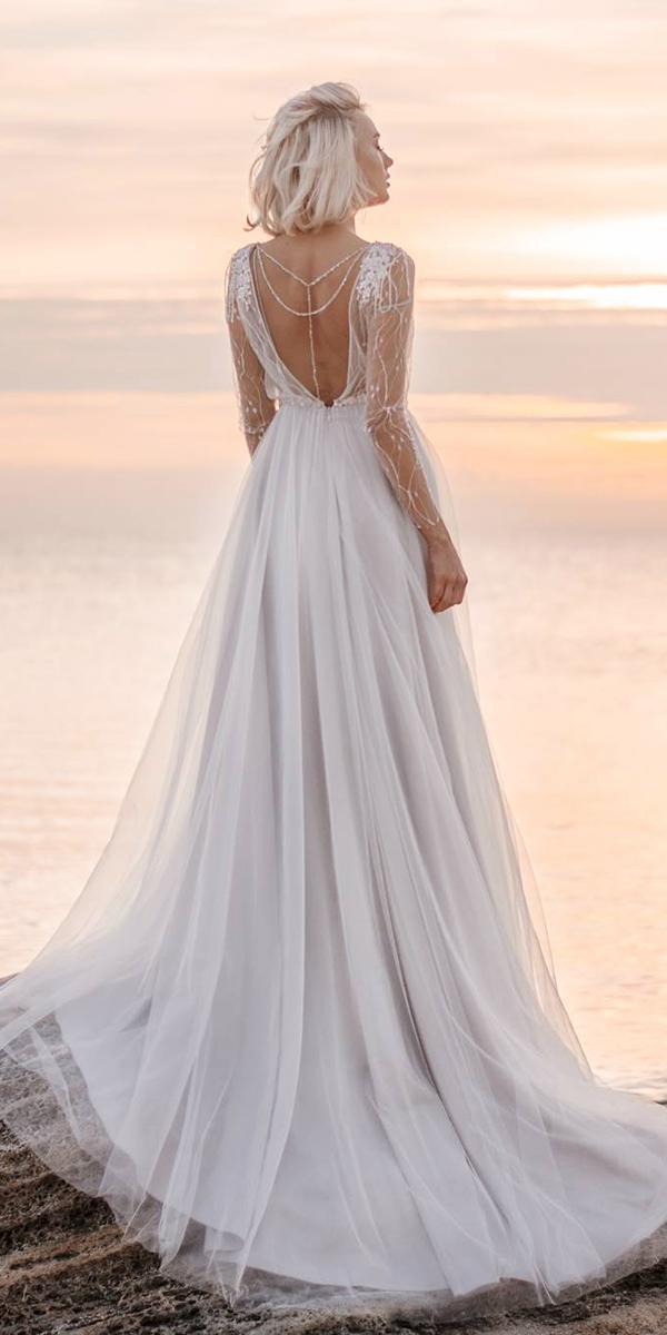 illusion long sleeve white elegant gown a line v back espana