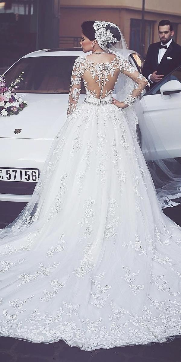 illusion long sleeve ball gown white elegant bridal gowns with tattoo effect back said mhamad photography