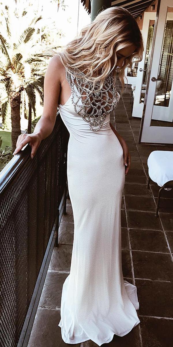 white elegant gown sheath with straps simple lurelly