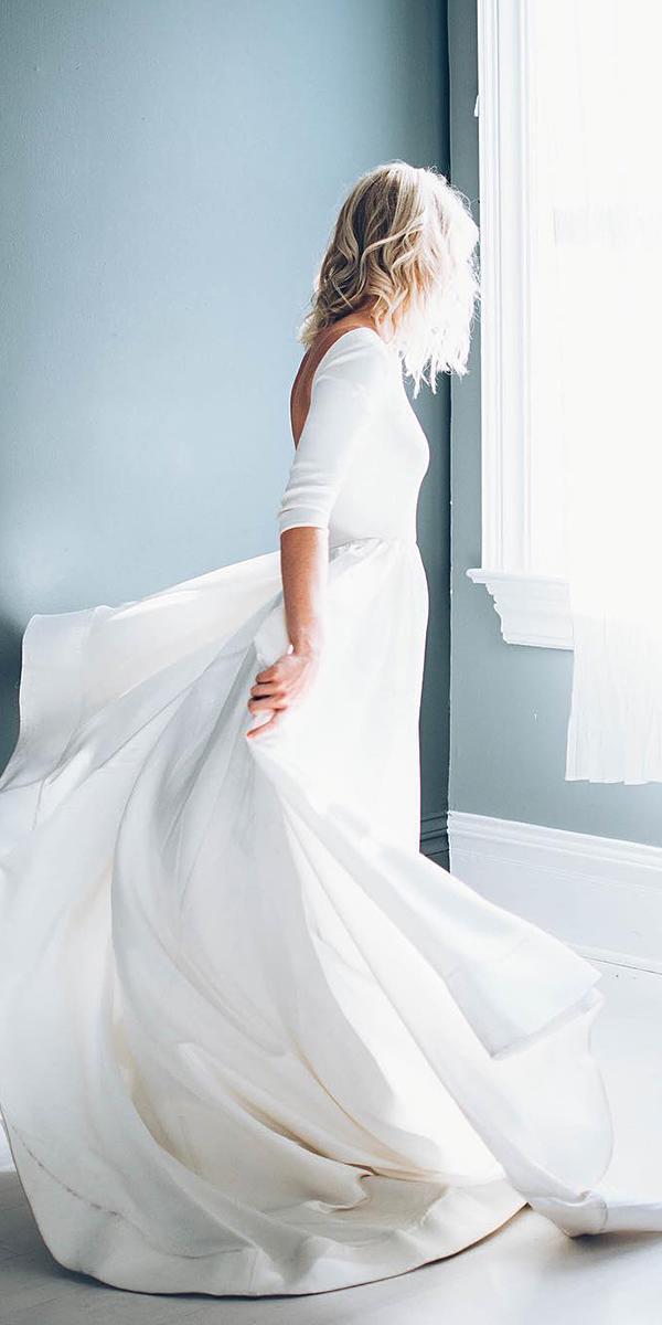 simple white elegant wedding dresses with sleeve chantel lauren designs