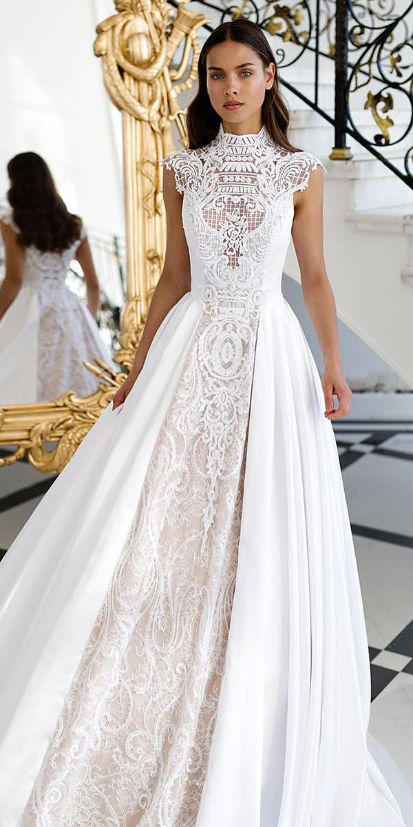 white elegant gowns a line high neck with cap sleeves nurithen couture