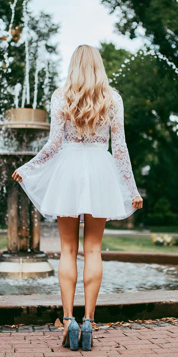 white elegant gowns short lace embellishment with long sleeves bliss tulle