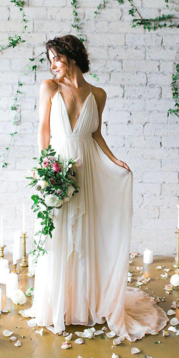 white elegant gowns v neckline with spaghetti straps simple cheap ashley rae photography