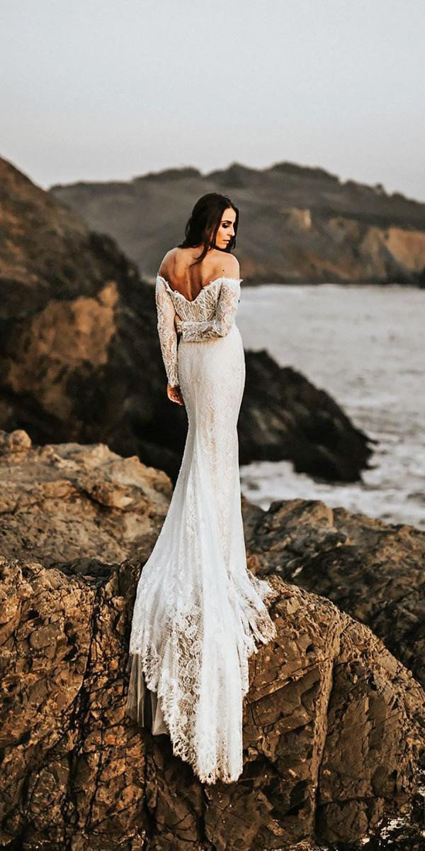 beach lace sheath off the shoulder backless wedding dresses with long sleeves will khoury