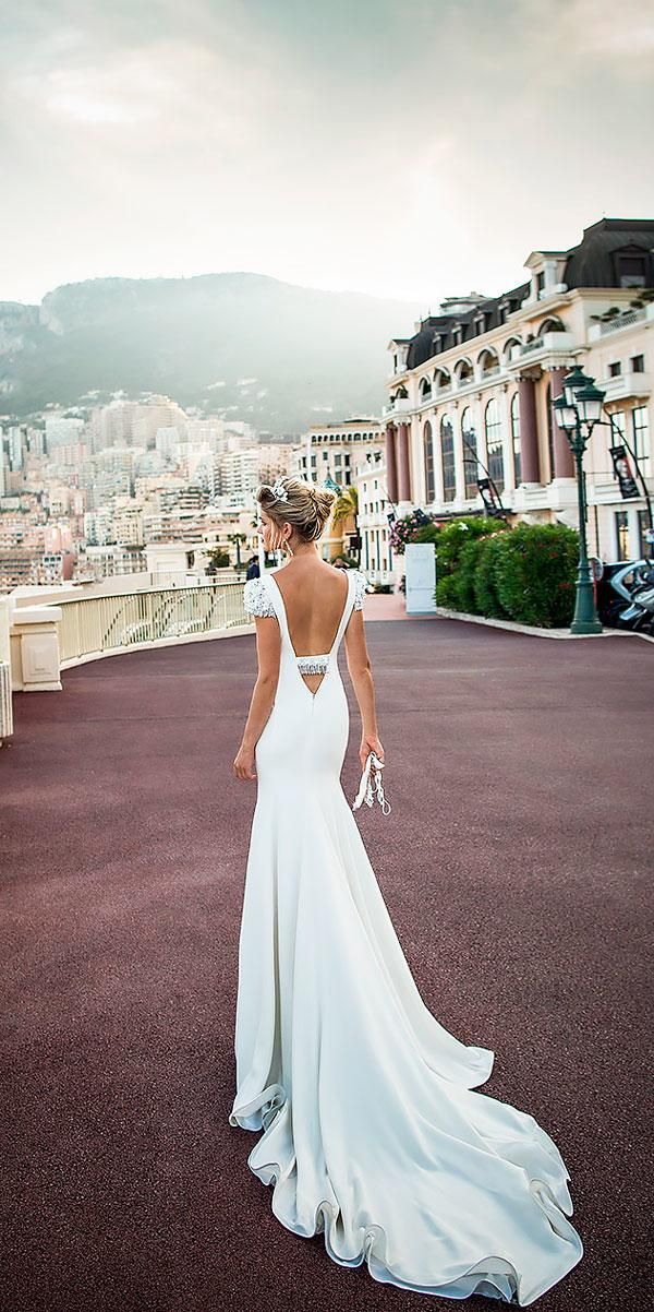 simple sheath cap sleeves v neck low backless wedding dresses with chapel train alessandra rinaudo