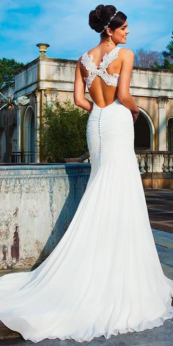 Sheath Lace X Cross Open Backless Wedding Dresses Sincerity Bridal