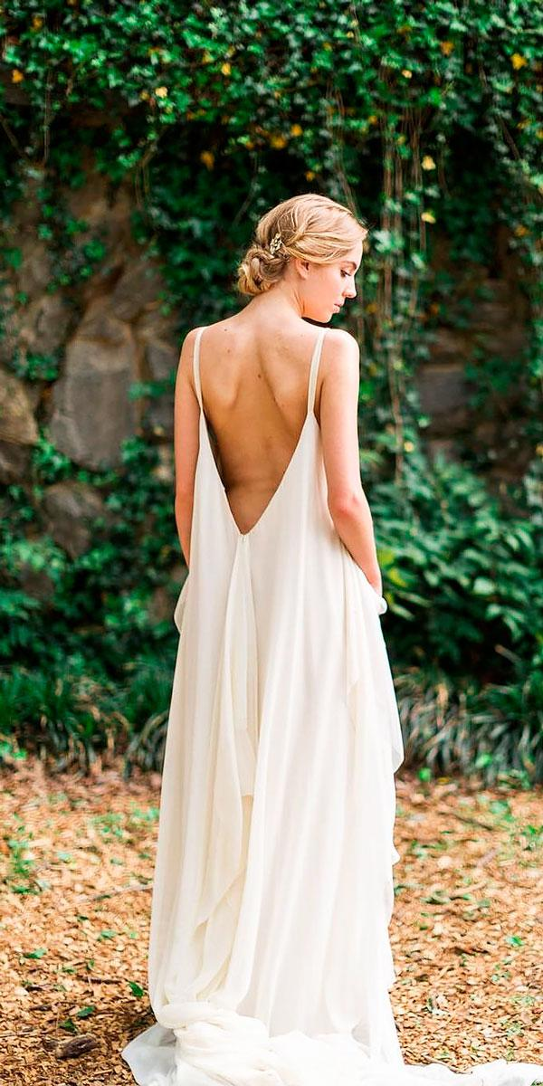 simple straight spaghetti straps backless wedding dresses carol hanan