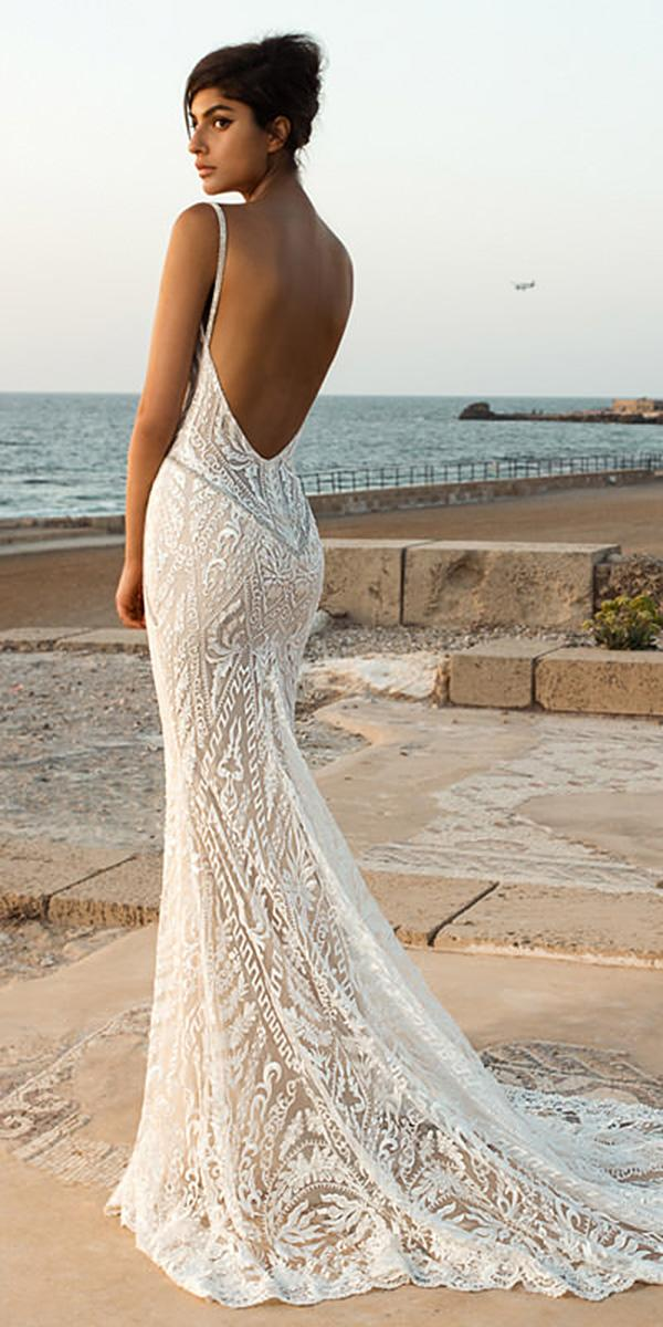 lace beach wedding dresses backless with straps sexy galia lahav