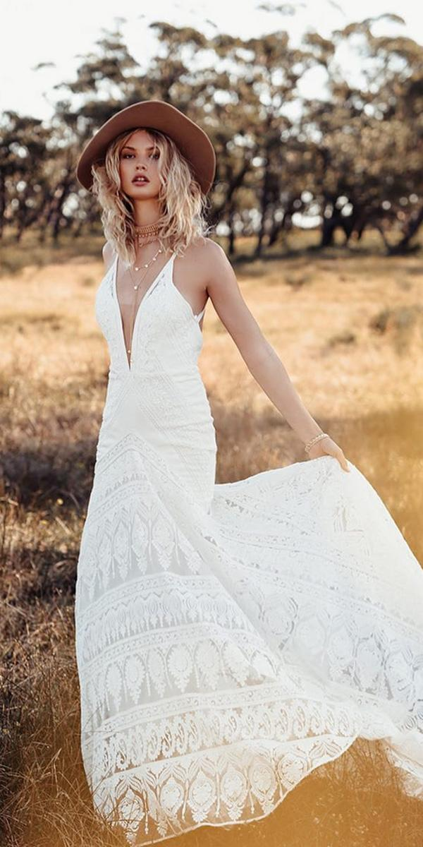 lace beach wedding dresses deep v neckline lace boho rue de seine bridal