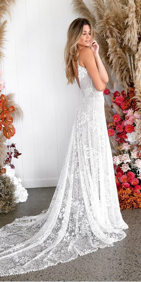 lace beach wedding dresses flowly with spaghetti straps rustic grace loves lace