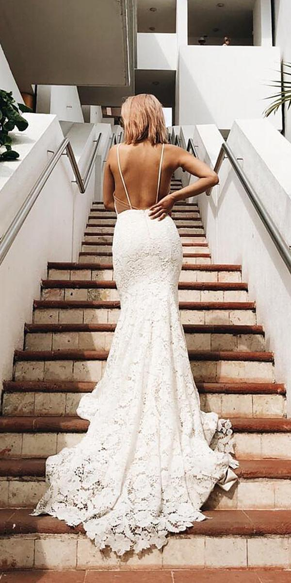 lace beach wedding dresses mermaid backless with straps laudae bride