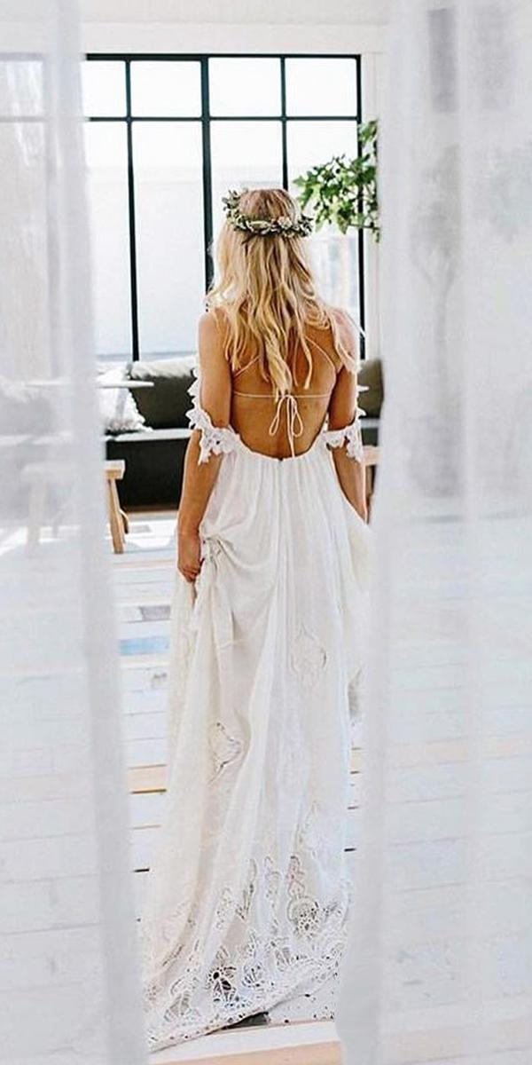 lace beach wedding dresses off the shoulder backless boho rue de seine bridal