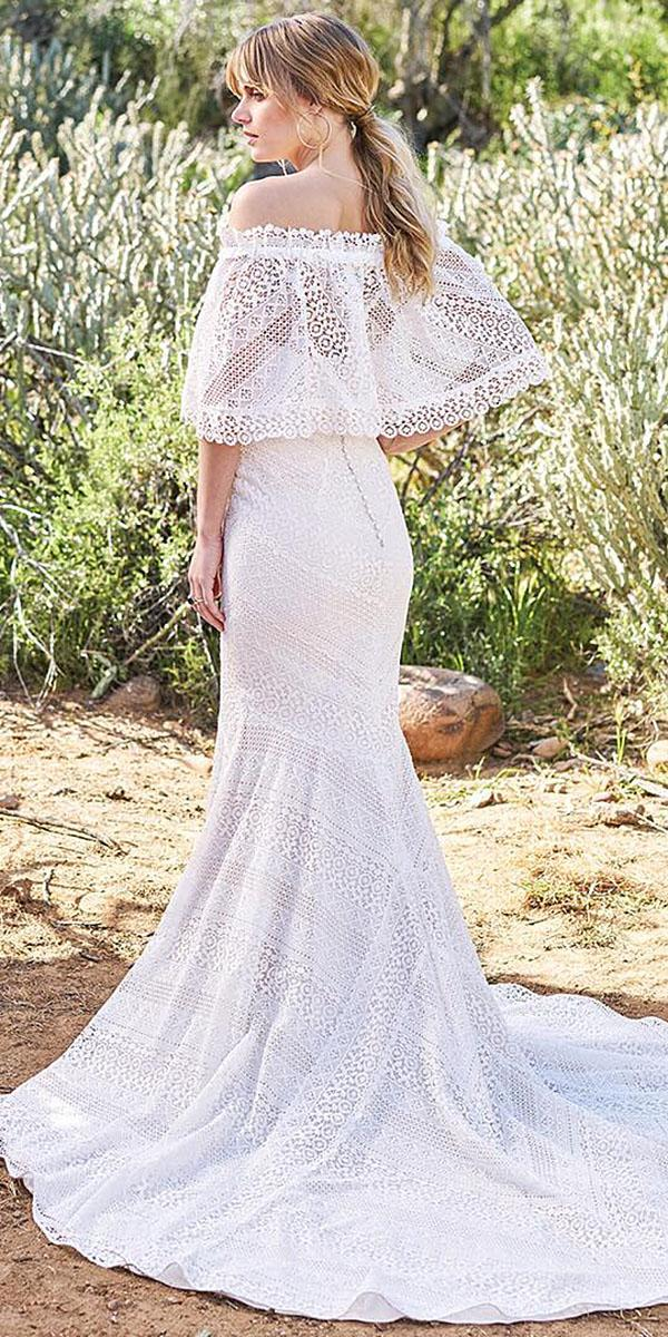 lace beach wedding dresses sheath straight shoulder romantic by lillian west