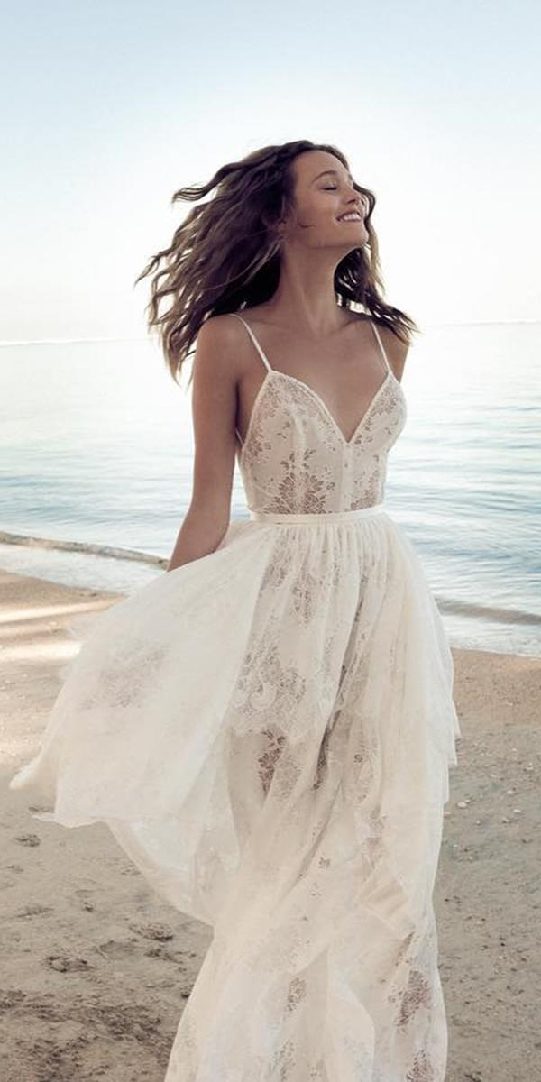 lace beach wedding dresses with spaghetti straps ruffled skirt sexy daalarna couture