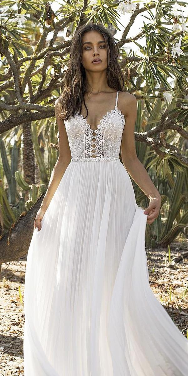 lace beach wedding dresses with straps lace top asaf dadush bridal