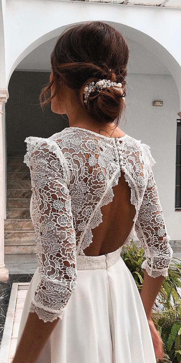 rustic wedding dresses backless lace long sleeve open back flowy rocioosornocostura