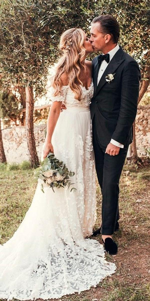 rustic wedding dresses country a line sweetheart off the shoulder with sleeves karinlundinphoto
