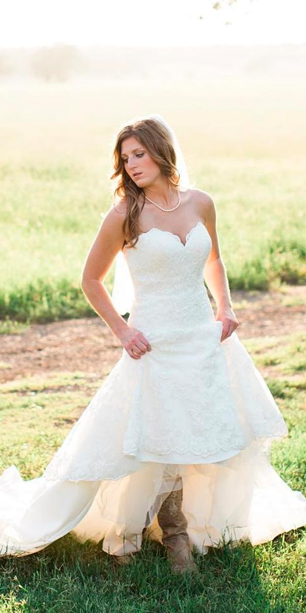rustic wedding dresses lace strapless sweetheart neck lace a line with boots amykarp