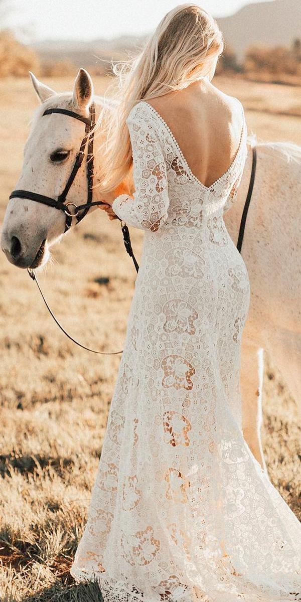 rustic wedding dresses sheath lace low back long sleeve with train with sleeves dreamersandlovers