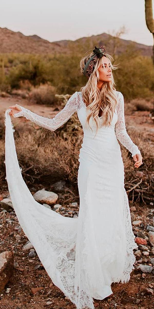 rustic wedding dresses sheath long sleeves lace with train lover sx society