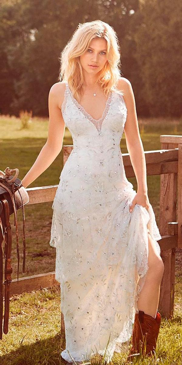 rustic wedding dresses sheath neckline embroidered sleeveless with boots jenny packham
