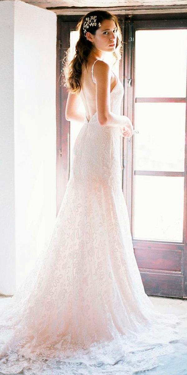 simple rustic wedding dresses trumpet lace low back spaghetti straps sleeveless josiephotographs