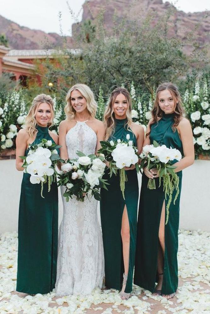 rustic bridesmaid dresses country long green halter neckline