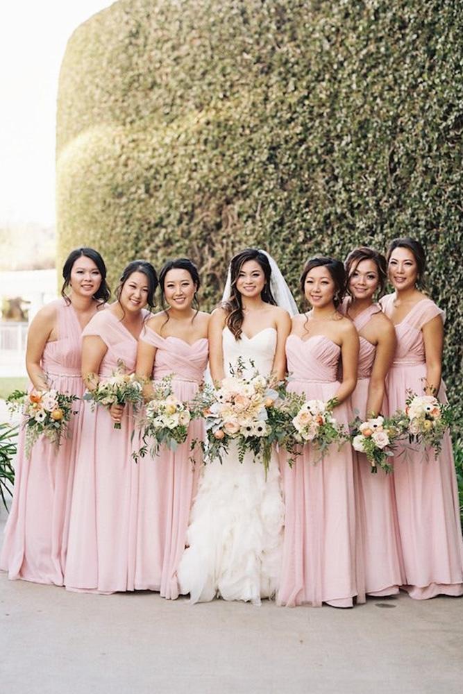 rustic bridesmaid dresses country long pink