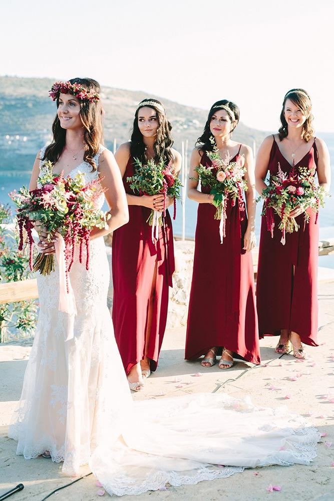 rustic bridesmaid dresses long burgundy with straps