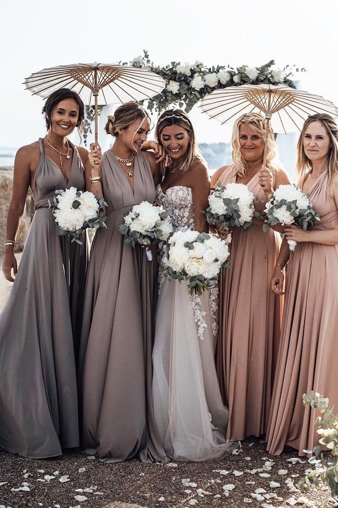rustic bridesmaid dresses long mismatched pastel color tali photography