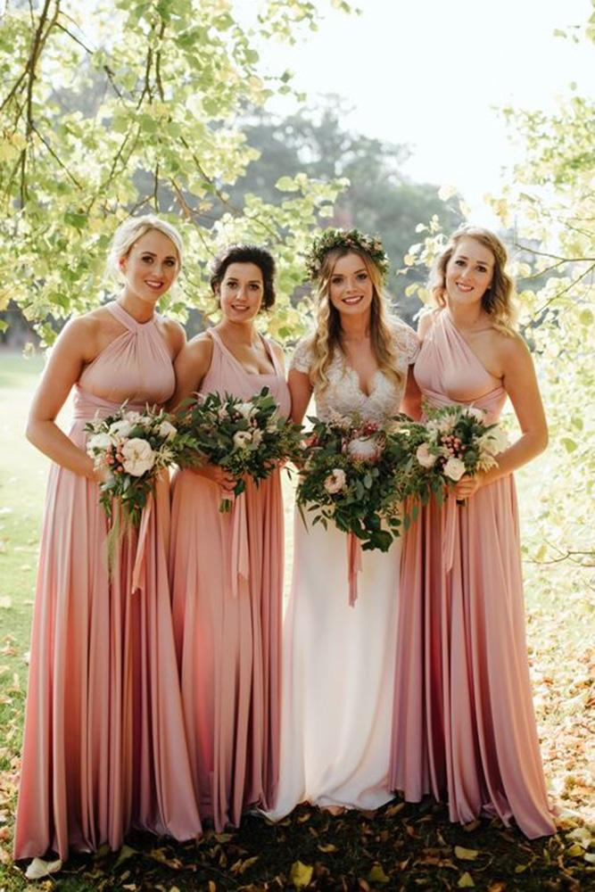 rustic bridesmaid dresses long mismatched pink beach