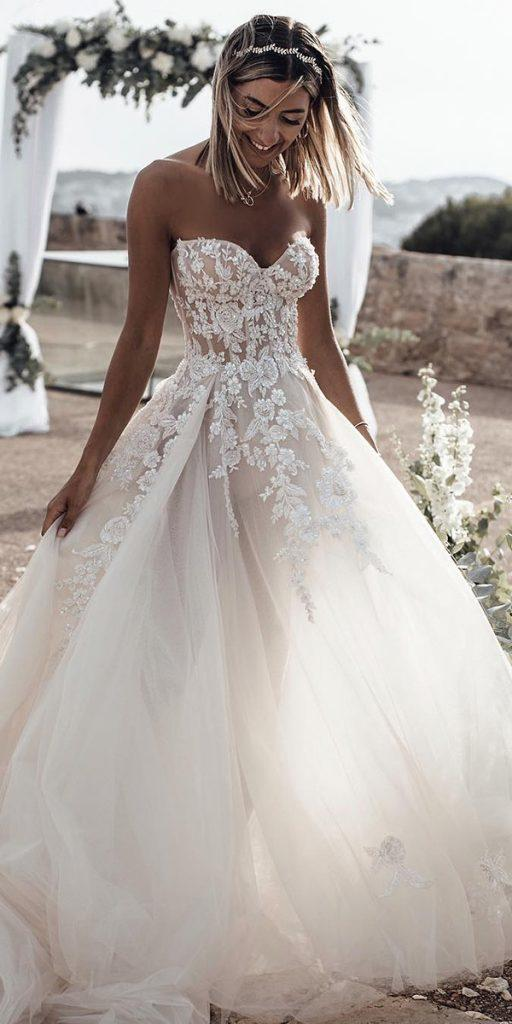 Bridal Gown A Line Sweetheart Strapless Fl Liques Galia Lahav