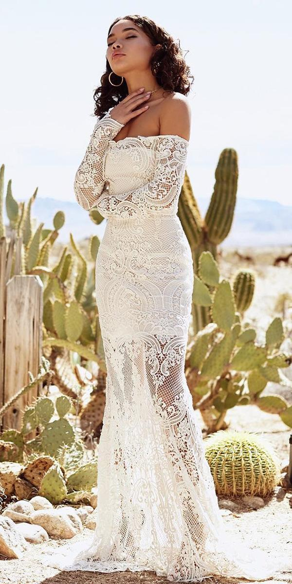 romantic bridal gowns boho straight across with sleeves lace lurelly
