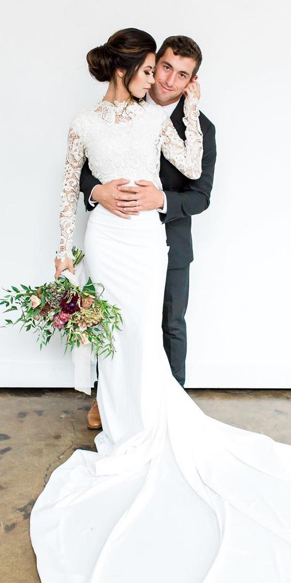 romantic bridal gowns sheath with long sleeves lace top jnoelle design