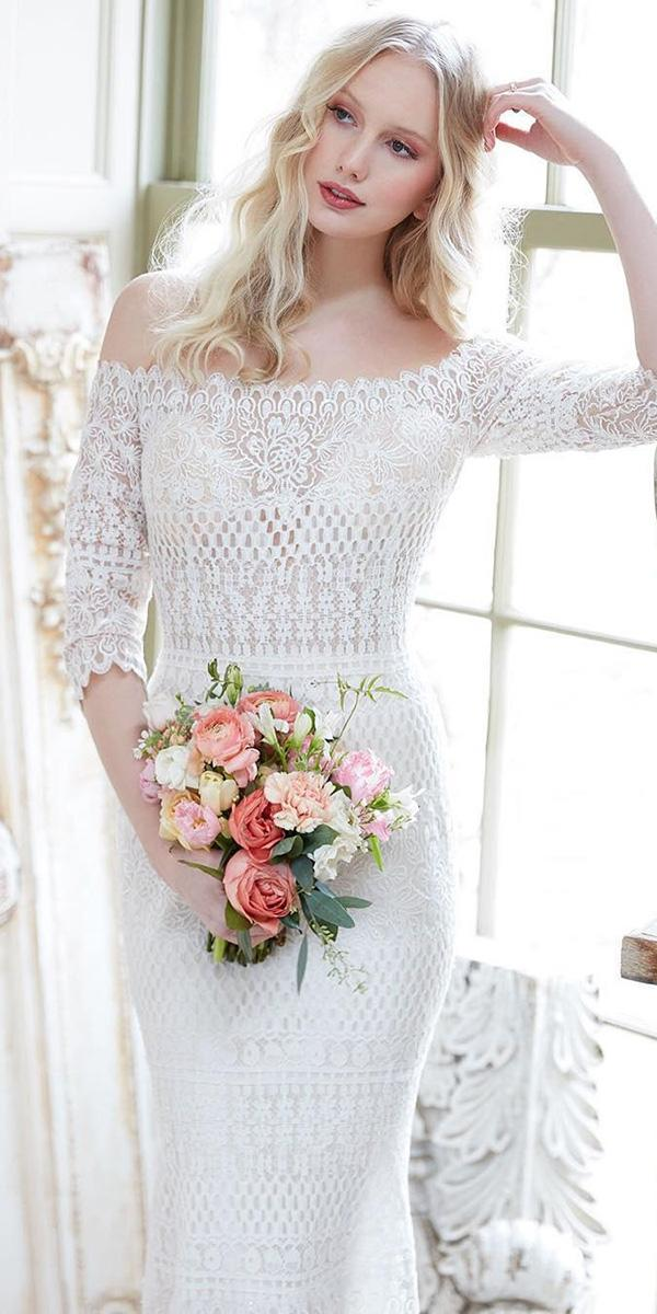 romantic bridal gowns with three quote sleeves lace boho allure bridals