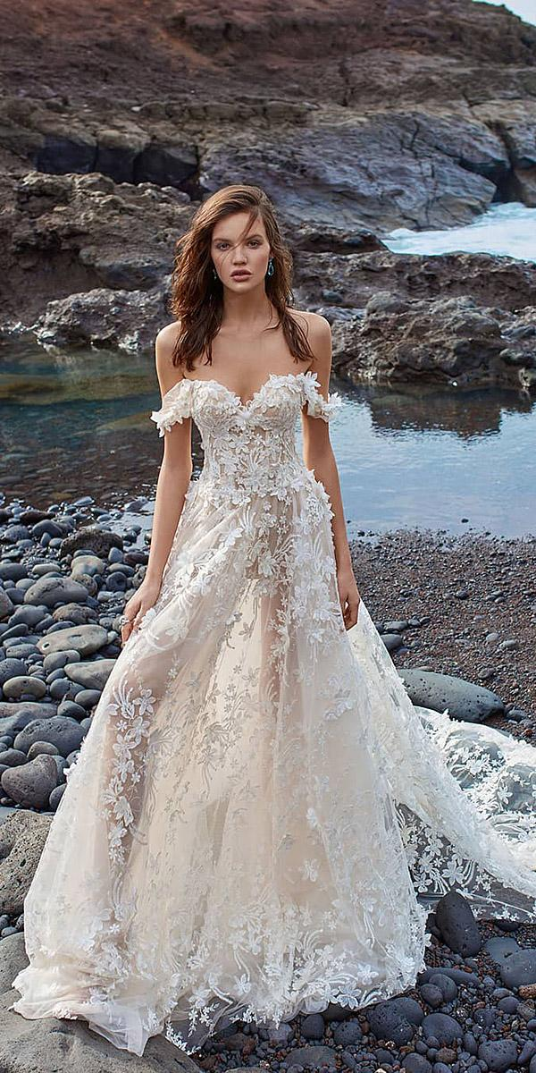 a line strapless off the shoulder 3d floral galia lahav wedding gown styles