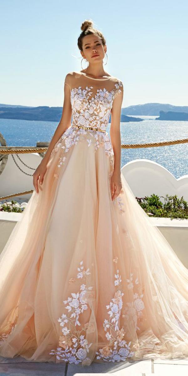 blush color floral lace illusion neck a line wedding dresses by eva lendel