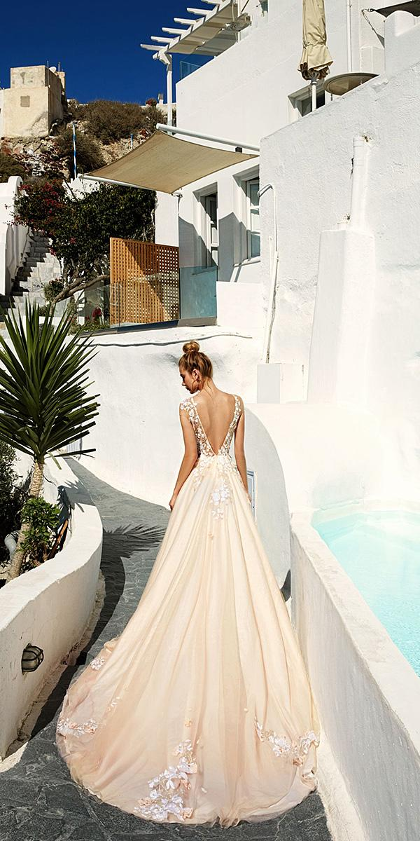 blush color open back a line wedding dresses with lace floral appliques bridal collection eva lendel 2017