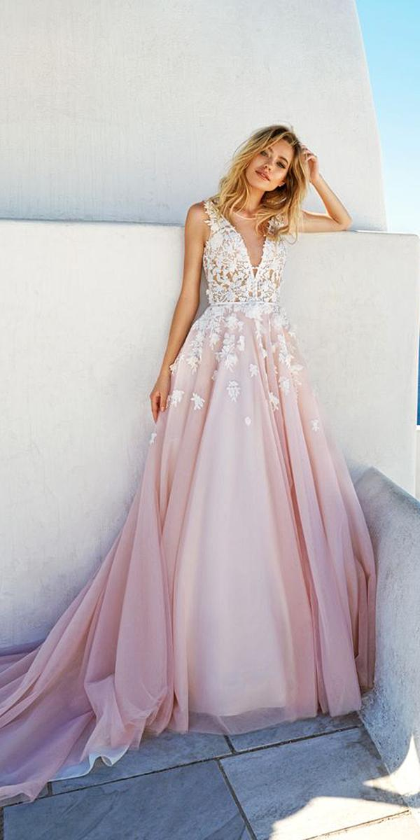 blush skirt v neck lace appliques wedding dresses eva lendel 2017 bridal collection