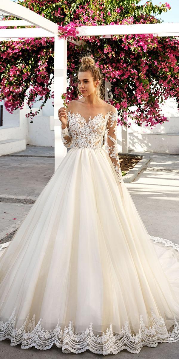 eva lendel 2017 wedding dresses princess lace appliques long sleeves off the shoulder bridal gowns