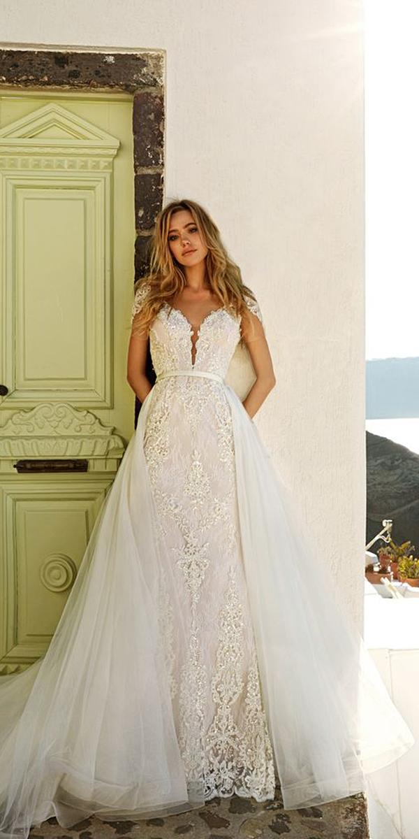 eva lendel wedding dresses sheath v neckline lace gowns with overskirt