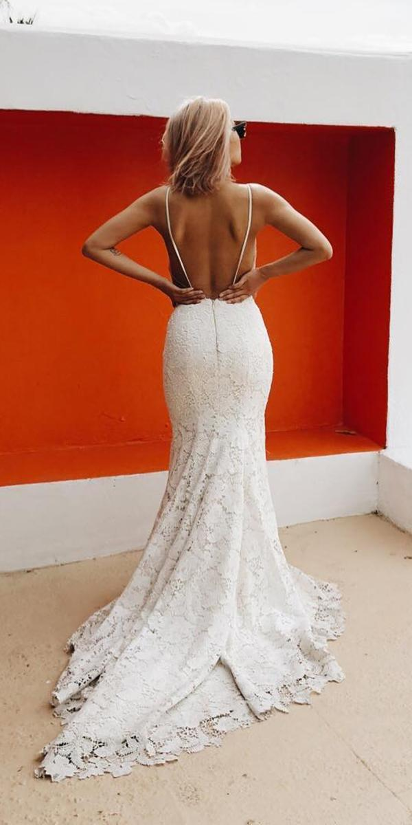 fit and flare backless lace laudae bride wedding gown styles