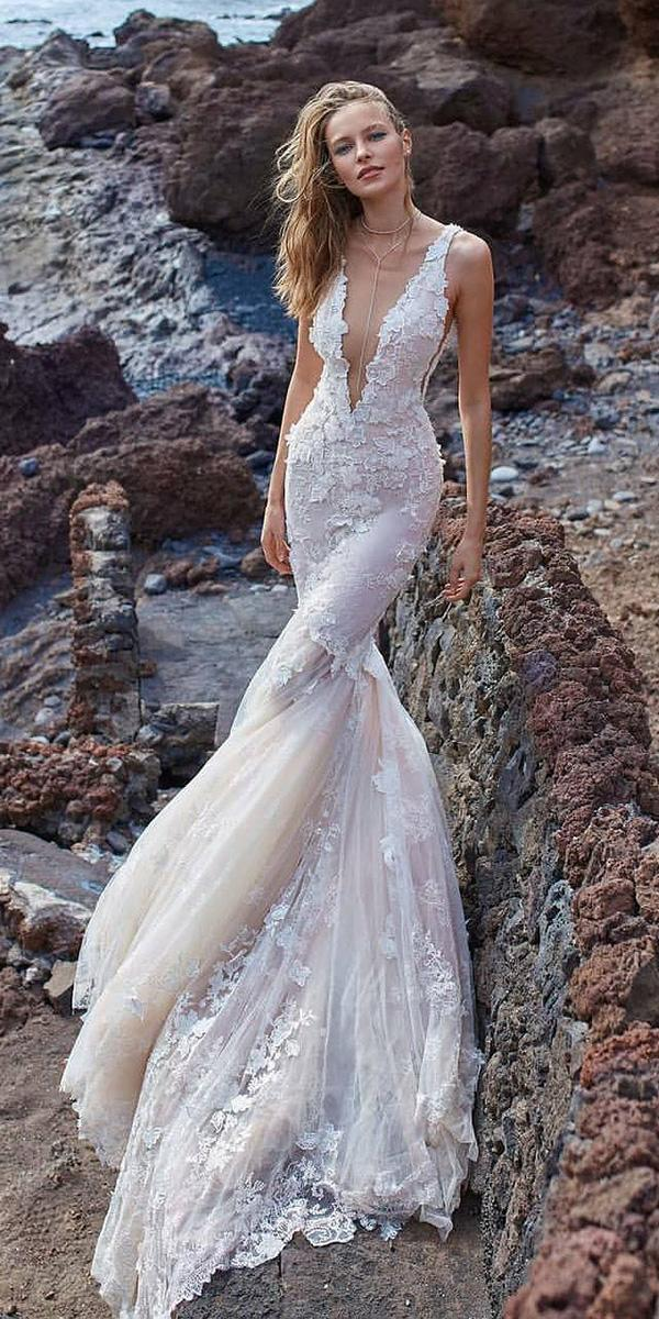 fit and flare v neckline floral beach alta moda bridal wedding gown styl s