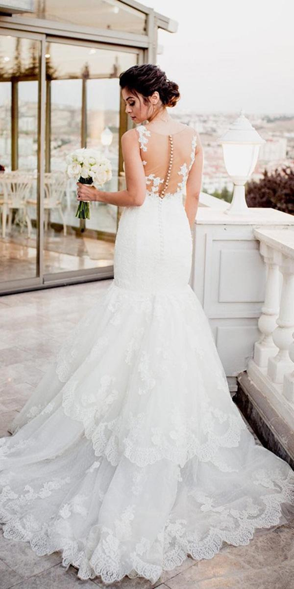 how to choose a wedding dress mermaid illusion back tatto effect pronovias