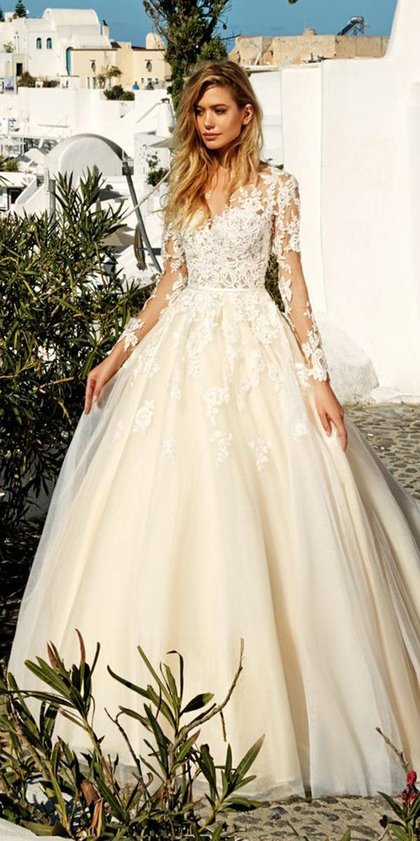 long sleeves floral appliques ball gown wedding dresses 2017 by eva lendel
