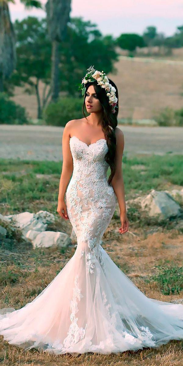 mermaid strapless lace blush wedding gown styles