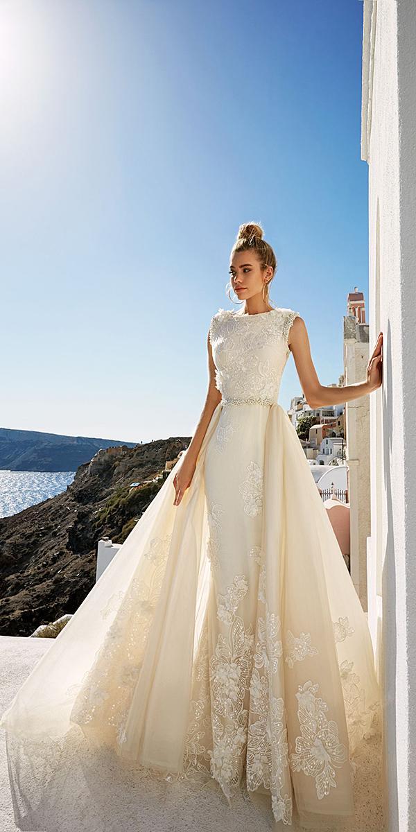 sheath lace sleeveless overskirt wedding dresses eva lendel 2017 collection
